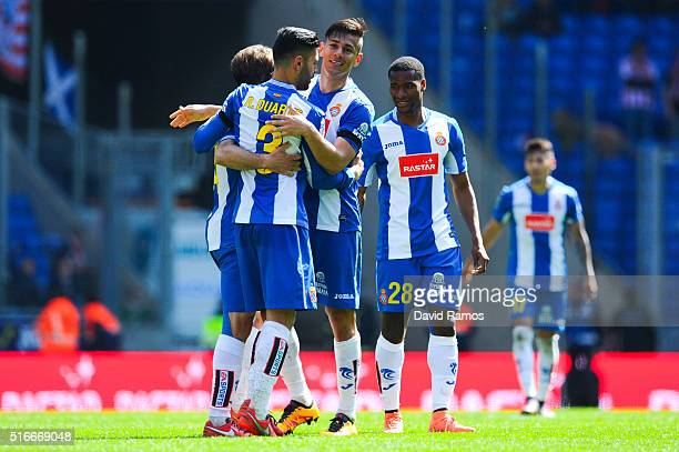 Espanyol players celebrate at the end of the La Liga match between Real CD Espanyol and Athletic Club de Bilbao at CornellaEl Prat Stadium on March...
