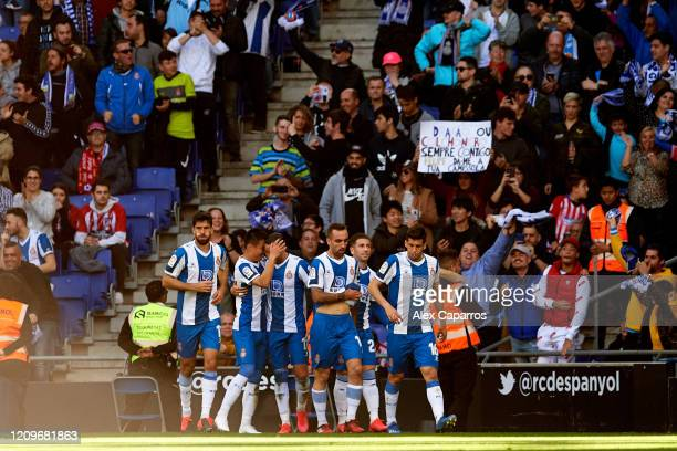 Espanyol players celebrate their team's opening goal scored by Raul de Tomas during the Liga match between RCD Espanyol and Club Atletico de Madrid...