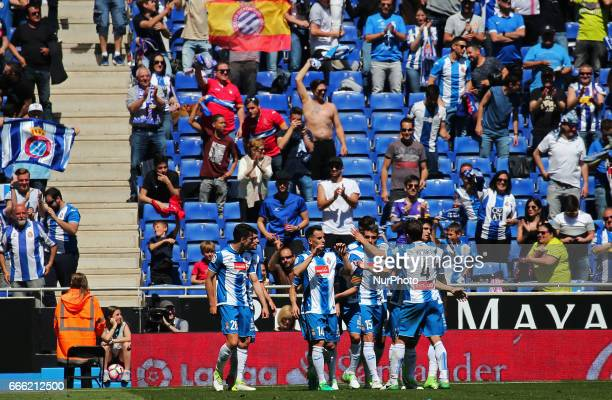 RCD Espanyol players celebration during the match between RCD Espanyol and Deportivo Alaves on April 08 2017