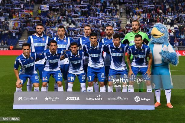 Espanyol players pose for a team picture during the La Liga match between Espanyol and Celta de Vigo at CornellaEl Prat stadium on September 18 2017...