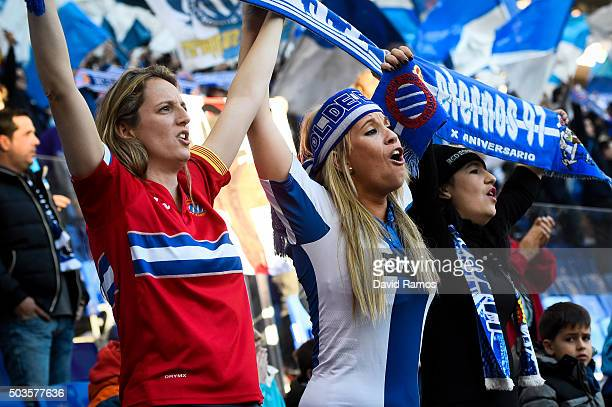 Espanyol supporters cheer on their team during the La Liga match between RCD Espanyol and FC Barcelona at CornellaEl Prat Stadium on January 2 2016...