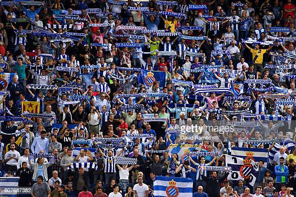 Espanyol supporters cheer on their team during the La Liga match between RCD Espanyol and Real Madrid CF at the RCDE stadium on September 18 2016 in...