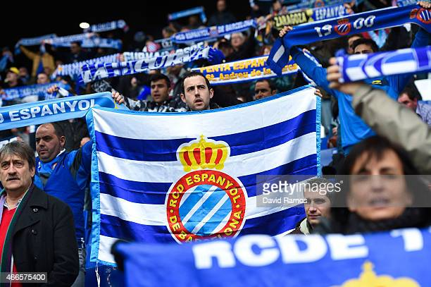 Espanyol supporters cheer up their team prior to the La Liga match between RCD Espanyol and Club Atletico de Madrid at Power 8 Stadium on March 14...