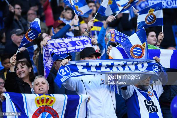 Espanyol supporters enjoy the atmosphere prior to the Liga match between RCD Espanyol and CA Osasuna at RCDE Stadium on December 01, 2019 in...