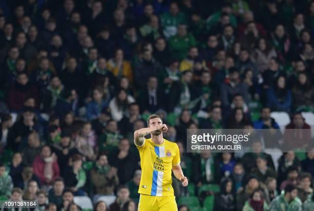 Espanyol's Brazilian forward Leo Baptistao celebrates afer scoring a goal during the Spanish Copa del Rey quarter-final second leg football match...