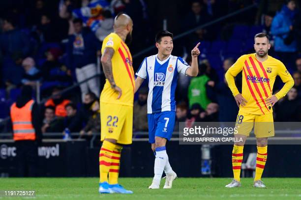 Espanyol's Chinese forward Wu Lei celebrates after scoring his team's second goal during the Spanish league football match between RCD Espanyol and...