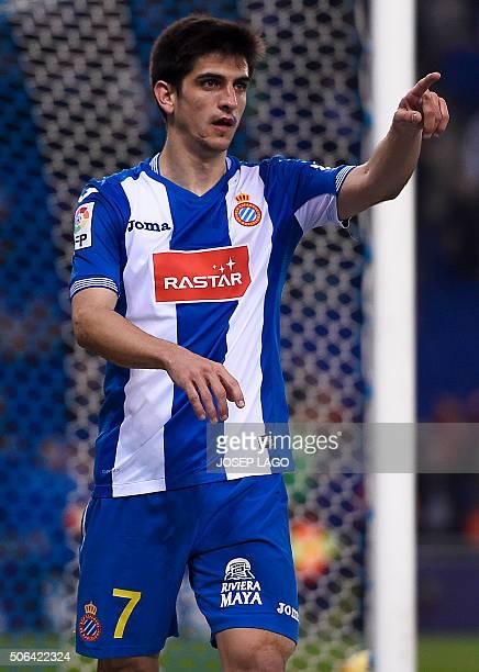 Espanyol's forward Gerard Moreno celebrates his goal during the Spanish league football match Real CD Espanyol vs Villarreal CF at the CornellaEl...