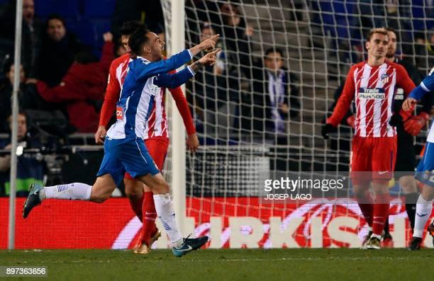 Espanyol's forward Sergio Garcia celebrates his goal during the Spanish league football match RCD Espanyol vs Club Atletico de Madrid at the RCDE...