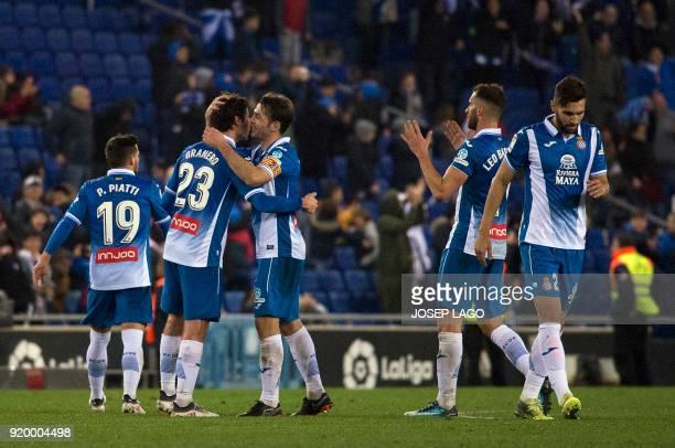 Espanyol's midfielder Esteban Granero is congratulated by teammates for his goal during the Spanish league football match RCD Espanyol vs Villarreal...