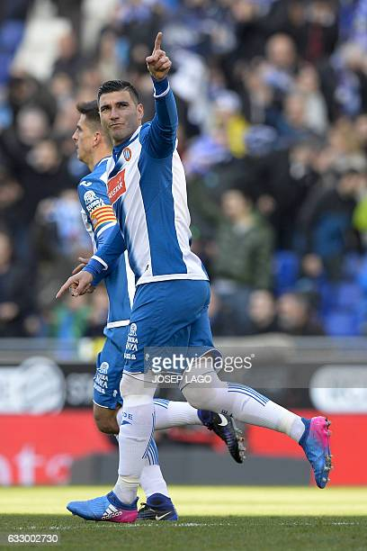 Espanyol's midfielder Jose Antonio Reyes celebrates his goal during the Spanish league football match RCD Espanyol vs Sevilla FC at the CornellaEl...