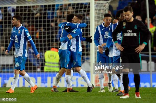 Espanyol's Spanish forward Gerard Moreno celebrates a goal during the Spanish league football match between RCD Espanyol and Real Madrid CF atthe...