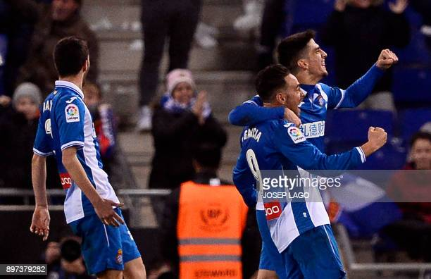 Espanyol's Spanish forward Sergio García celebrates a goal during the Spanish league football match RCD Espanyol against Club Atletico de Madrid...