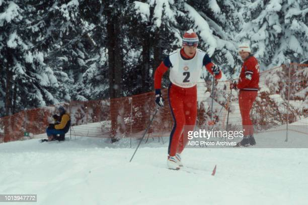 Espen Andersen competing in the Men's Nordic combined event at the 1984 Winter Olympics / XIV Olympic Winter Games, Igman Olympic Jumps.