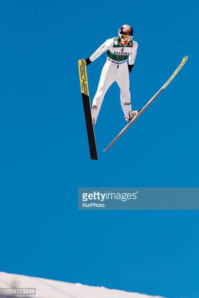 Espen Andersen during the trial jump prior to Nordic Combined HS130 Qualification of the FIS Nordic Ski World Championships in Lahti, Finland, on...