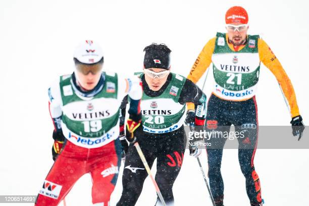 Espen Andersen, Hideaki Nagai and Johannes Rydzek compete during the Men Individual Gundersen LH/10.0km of the FIS Nordiic Combined World Cup in...