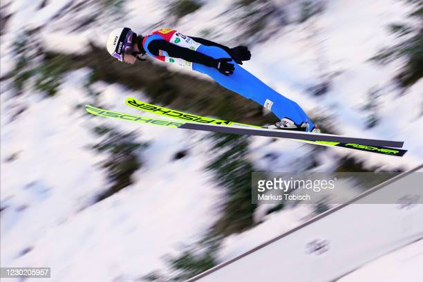 Espen Andersen of Norway competes during the Men's Gundersen Normal Hill HS98/10.0 Km at the FIS Nordic Combined World Cup at WM Stadion Ramsau on...