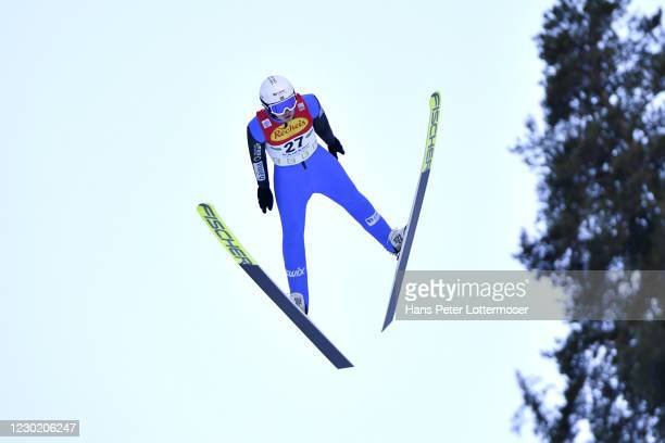 Espen Andersen of Norway competes during the Men-s Gundersen Normal Hill HS98/10.0 Km at the FIS Nordic Combined World Cup at WM Stadion Ramsau on...