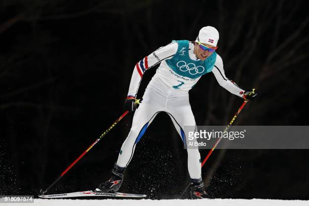 Espen Andersen of Norway competes during the Nordic Combined Individual Gundersen Normal Hill and 10km Cross Country on day five of the PyeongChang...