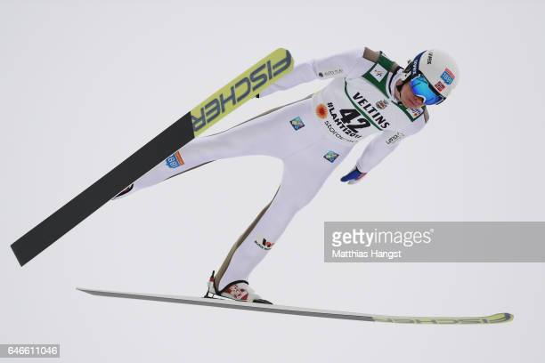 Espen Andersen of Norway competes in the Men's Nordic Combined HS130 during the FIS Nordic World Ski Championships on March 1, 2017 in Lahti, Finland.