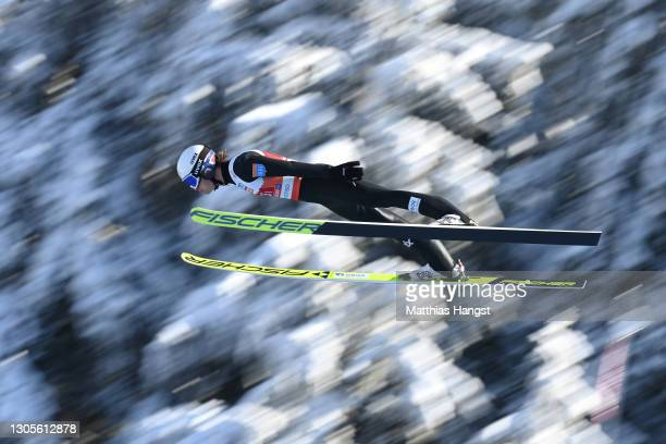 Espen Andersen of Norway competes in the ski jumping leg during the Men's Nordic Combined Team HS137/4x7.5 Km at the FIS Nordic World Ski...