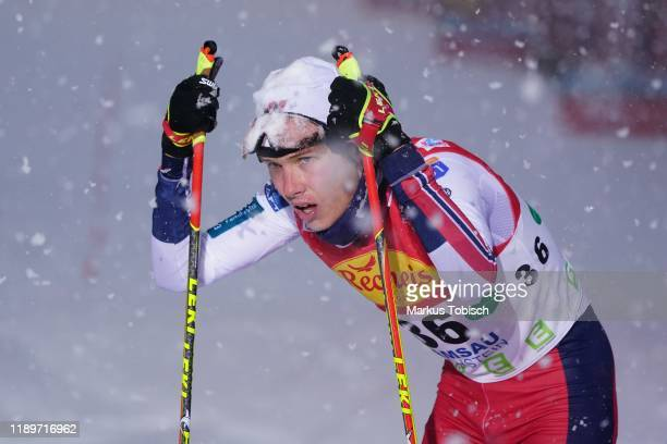 Espen Andersen of Norway during the Men's Gundersen Large Hill HS 98/10.0 km at the Vismann Fis Nordic Combined World Cup at WM Stadion Ramsau on...