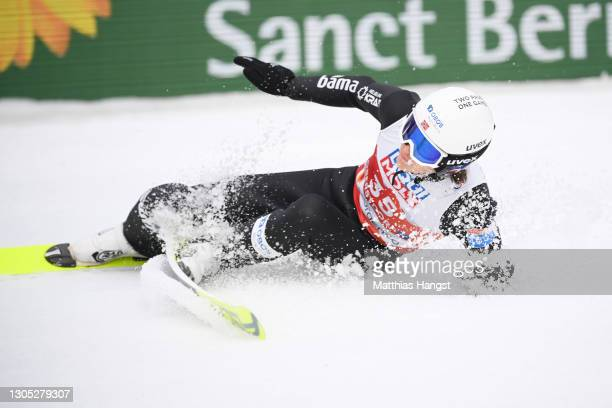 Espen Andersen of Norway falls after his jump in the jumping leg of the Men's Nordic Combined Gundersen Large Hill HS137/10.0 Km at the FIS Nordic...