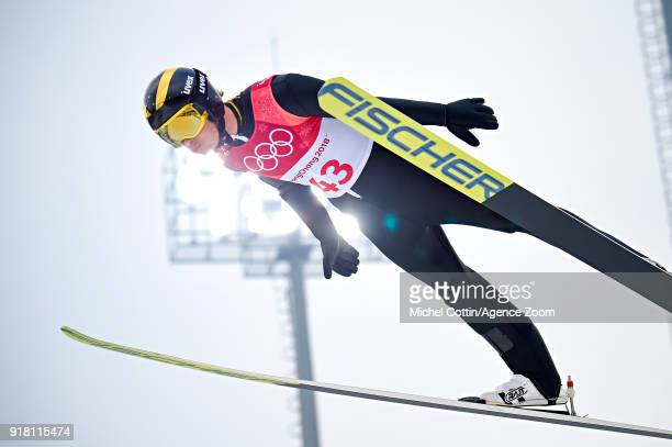 Espen Andersen of Norway in action during the Nordic Combined Normal Hill/10km at Alpensia Cross-Country Centre on February 14, 2018 in...