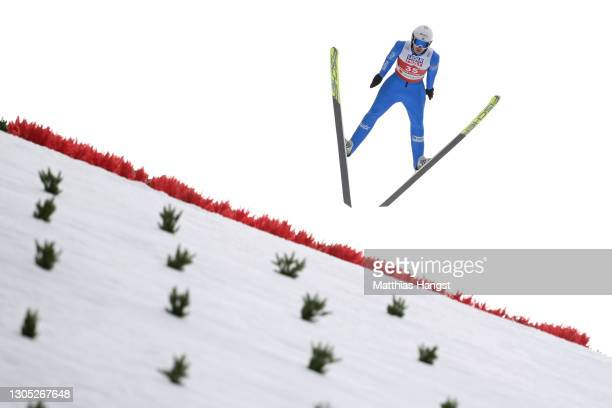 Espen Andersen of Norway jumps during the trial round for the jumping leg of the Men's Nordic Combined Gundersen Large Hill HS137/10.0 Km at the FIS...