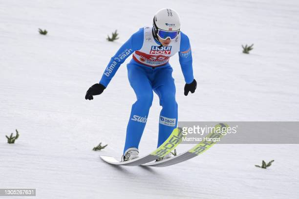 Espen Andersen of Norway lands a jump during the trial round for the jumping leg of the Men's Nordic Combined Gundersen Large Hill HS137/10.0 Km at...