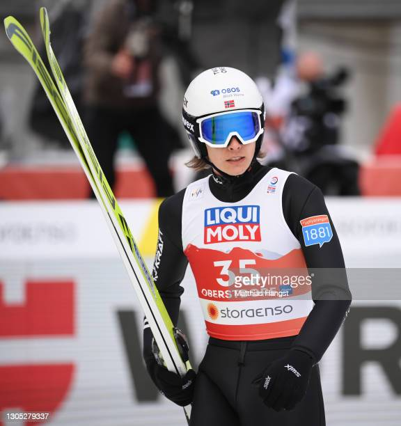 Espen Andersen of Norway reacts after competing in the jumping leg of the Men's Nordic Combined Gundersen Large Hill HS137/10.0 Km at the FIS Nordic...