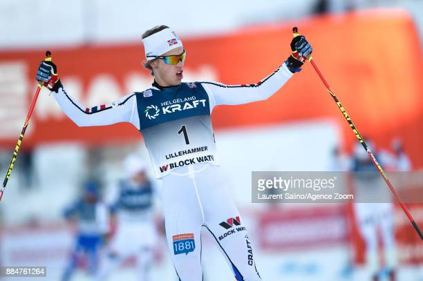 Espen Andersen of Norway takes 1st place during the FIS Nordic World Cup Nordic Combined HS138 / Ind Gund on December 3 2017 in Lillehammer Norway
