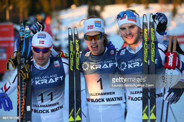 Espen Andersen of Norway takes joint 1st place Jan Schmid of Norway takes joint 2nd place Joergen Graabak of Norway takes 3rd place during the FIS...