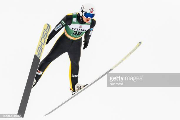Espen Andersen participates in the FIS Nordic Combined World Cup Individual Gundersen LH/10km Ski Jumping Trial Round at the Lahti Ski Games in...