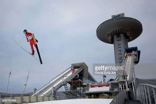 Espen Bjoernstad of Norway competes in the Individual Gundersen Large Hill 10km trial during the FIS Nordic Combined World Cup presented by Viessmann...