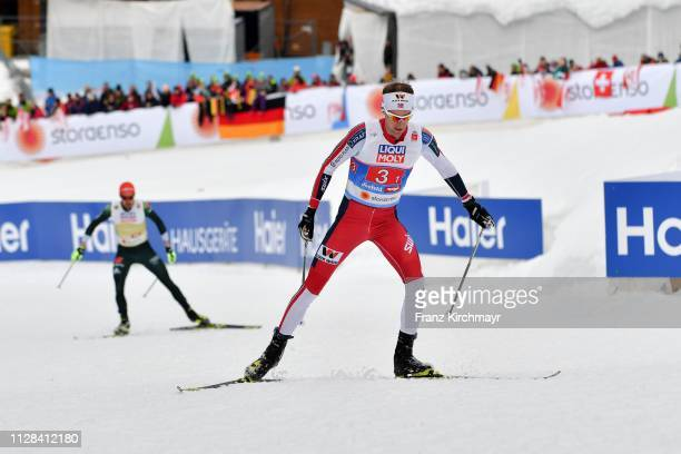 Espen Bjoernstad of Norway during the Men's Nordic Combined HS109 Team at the FIS Nordic World Ski Championships at Langlauf Arena Seefeld on March...