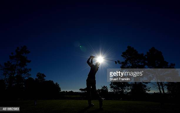 Espen Kofstad of Norway plays a shot during the third round of European Tour qualifying school final stage at PGA Catalunya Resort on November 12...
