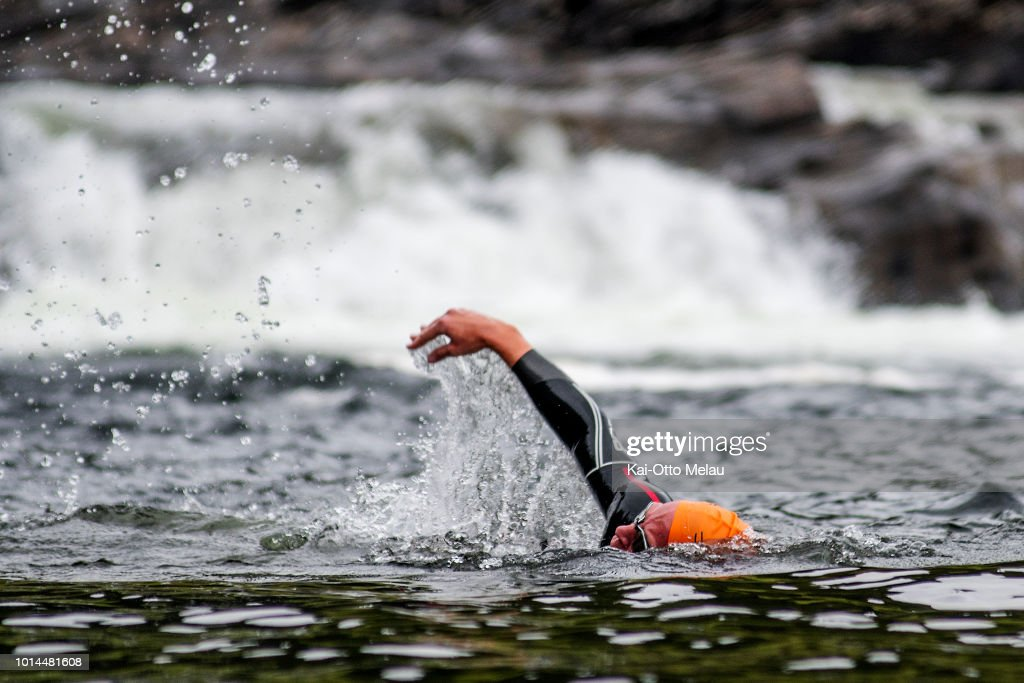 Espen Simonstad from Norway tests the swimexit the day before Swedeman Extreme Triathlon on August 10, 2018 in Are, Sweden. Swedeman Extreme Triathlon is a part of the Xtri World Tour.