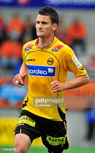 Espen Sogard of Lillestrom SK in action during the Norwegian Tippeligaen match between Aalesunds FK and Lillestrom SK held on June 25 2011 at the...