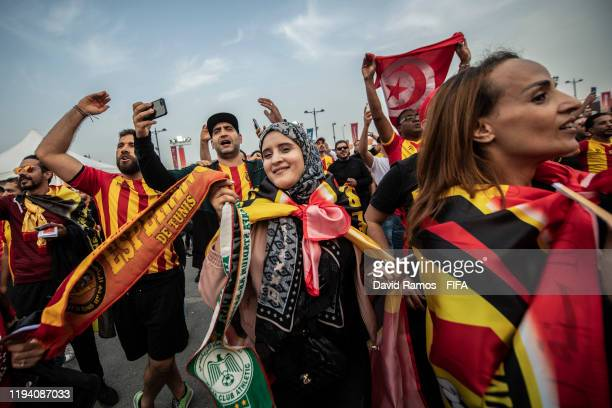 Esperance Sportive de Tunis women supporters enjoy the atmosphere prior to the FIFA Club World Cup 2nd round match between Al Hilal and Esperance...