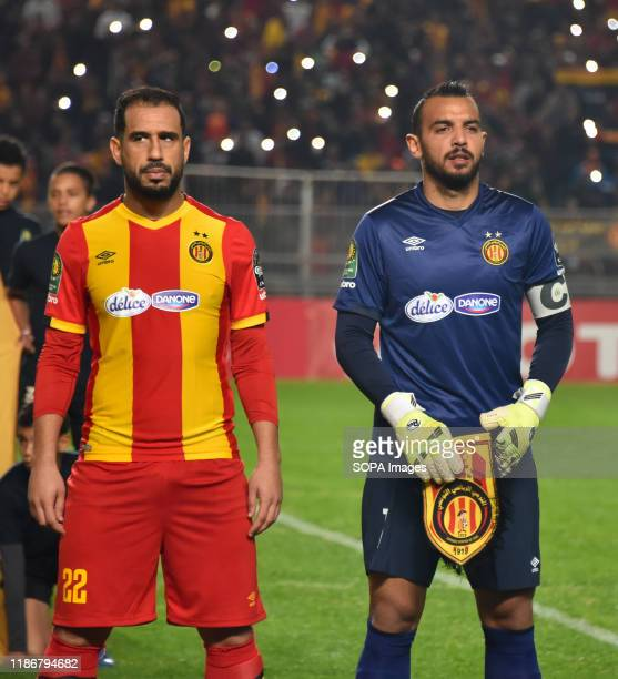Esperance Sportive Tunisia Player' Sameh derbaly and moez ben cherifia are seen during the CAF Champions League 2019 20 football match between...