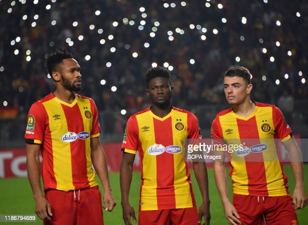 Esperance Sportive Tunisia Players Iles chatti and Kwame bonsu and Fousseny coulibaly are seen during the CAF Champions League 2019 20 football match...