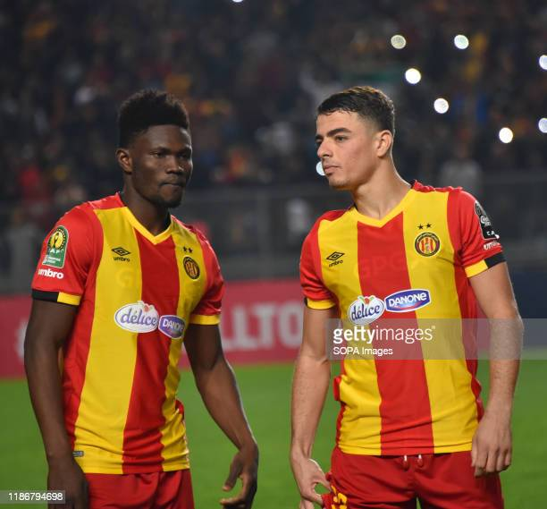 Esperance Sportive Tunisia Players Iles chatti and Kwame bonsu are seen during the CAF Champions League 2019 20 football match between Esperance...