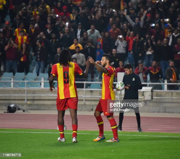 Esperance's player Anice badri celebrates during the CAF Champions League 2019 20 football match between Esperance sportive tunisia and Jeunesse...