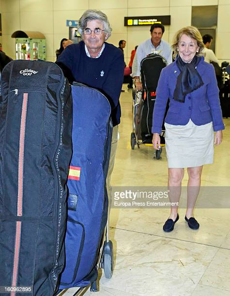 Esperanza Aguirre and Fernando Ramirez de Haro are seen at Barajas airport on February 1 2013 in Madrid Spain
