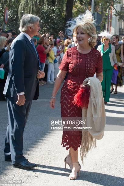 Esperanza Aguirre and Fernando Ramirez de Haro attend the wedding of Fernando FitzJames Stuart and Sofia Palazuelo at Liria Palace on October 6 2018...