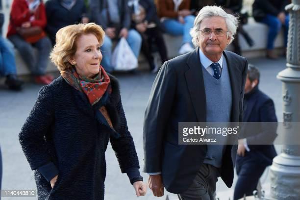 Esperanza Aguirre and husband Fernando Ramirez de Haro arrive at a memoriam funeral for Jose Pedro PerezLlorca Rodrigo at San Jeronimo El Real Church...