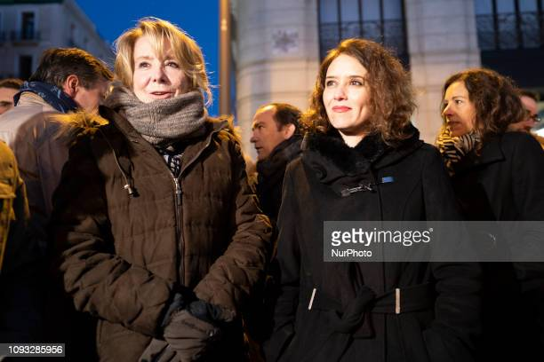Esperanza Aguirre and Isabel Díaz Ayuso during a demonstration on in Madrid to back Venezuelan selfproclaimed acting president Juan Guaido´s call for...