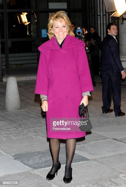 Esperanza Aguirre arrives to the Inaugural Gala of the Spanish Presidency of the European Union held at the Royal Theatre on January 8 2010 in Madrid...