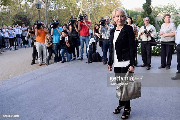 Esperanza Aguirre attends Parque San Isidro Cemetery following the death of Miguel Boyer on September 29 2014 in Madrid Spain Spanish politician...