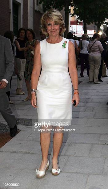 Esperanza Aguirre attends the funeral for Eduardo Sanchez Junco editorinchief of 'Hola' magazine on July 20 2010 in Madrid Spain The owner and...
